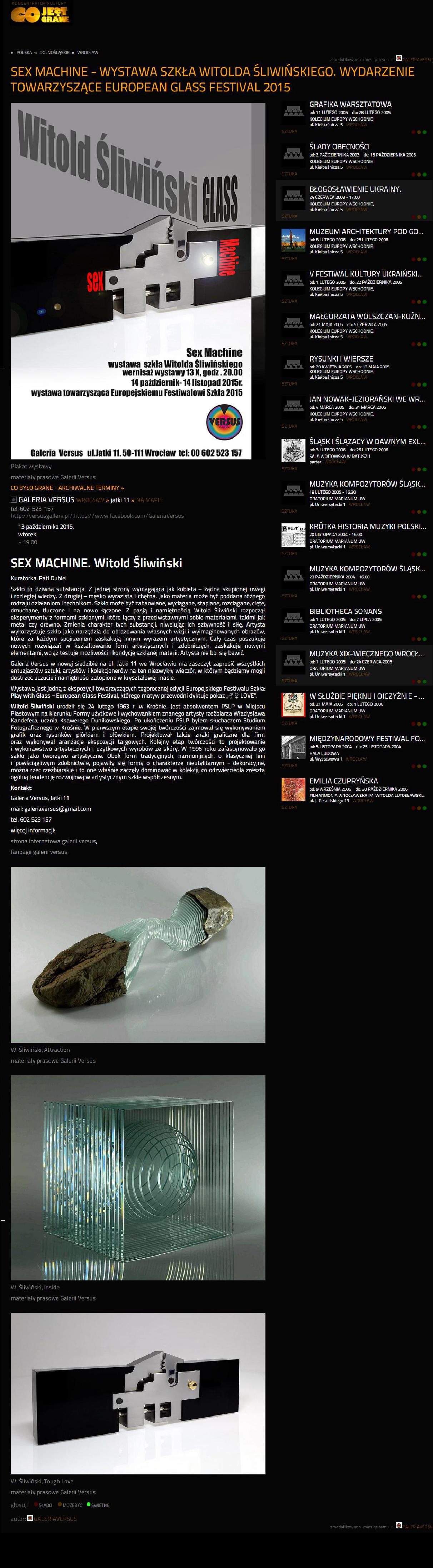 3945e3f22 Sex Machine – wystawa szkła Witolda Śliwińskiego. Wydarzenie towarzyszące  European Glass Festival 2015